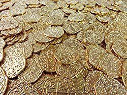 Beverly Oaks Metal Pirate Coins – 50 Gold Spanish Doubloon Replicas – Fantasy Metal Coin Pirate Treasure