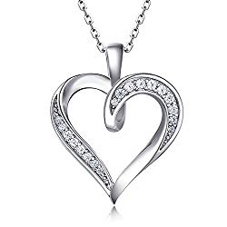 Billie Bijoux 925 Sterling Silver Infinity Love Heart Necklace Platinum Plated Round CZ Diamond Fine Woman's jewelry 18″ Mother's Day