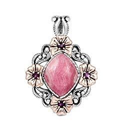 Carolyn Pollack Sterling Silver & Copper Rhodochrosite & Rhodolite Floral Pendant Enhancer