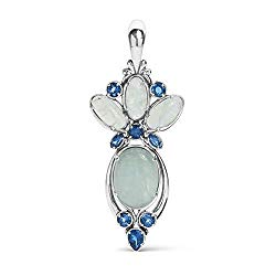 Carolyn Pollack Sterling Silver Milky Aquamarine and Blue Topaz Gemstone Pendant Enhancer