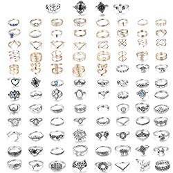 CASSIECA 99-109 Pcs Knuckle Rings for Women Vintage Bohemian Stackable Rings Set Mid Finger Rings