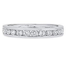 Clara Pucci 0.42 ct Brilliant Round Cut CZ Designer Stacking Channel Setting Band in Solid 14K White Gold