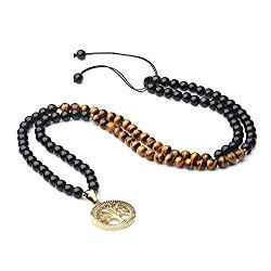 COAI Obsidian Tiger Eye Tree of Life 108 Beads Mala Necklace