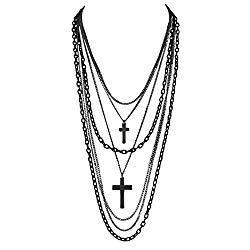 Deluxe Gothic Crosses Retro 80 Madonna Multilayer Black & Gunmetal Chain Long Multi Strand Necklace