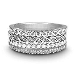 Devin Rose Rhodium Plated Sterling Silver 1/4 Cttw Diamond Stack Bands Ring for Women (Color IJ/Clarity I3)