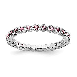 FB Jewels Solid Sterling Silver Stackable Expressions Pink Tourmaline Ring