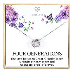 Four Generations Necklace for Great Grandmother – Sterling Silver Four Circles Generation Necklace Gifts for Great Grandma (Four Generation Necklace)