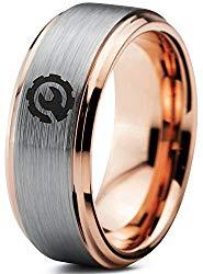 Gear Mechanic Engineer Wrench Ring – Tungsten Band 8mm – Men – Women – 18k Rose Gold Step Bevel Edge – Yellow – Grey – Blue – Black – Brushed – Polished – Wedding – Gift Dome Flat Cut