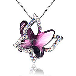 GEMMANCE Purple Butterfly Necklace Amethyst Pink Pendant Women Necklace Made with Swarovski Crystals,White Gold Plated Silver Tone, 18″+2″, Gifts for Women Mother Birthday