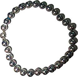 JOIA DE MAJORCA, 14mm 18 inch Slate/Silver Multi-Hues Pearl Necklace, Rhodium Euro Clasp, Lustrous, Man-Made Organic Strand of Pearls from Majorca Spain