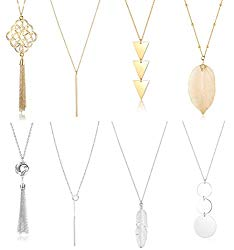Jstyle 8Pcs Long Pendant Necklace Set Women Bar Circle Leaf Tassel Y Statement Necklace Silver Gold Plated Chain Necklace Set