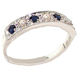 LetsBuyGold 10k White Gold Cultured Pearl and Sapphire Womens Band Ring – Sizes 4 to 12 Available