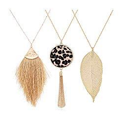 Long Necklace for Women Tassel Pendant Necklace Leaf Necklace Leopard Print Leather Y Shape Lariat Sweater Necklace Set
