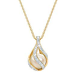 Love's Embrace Pearl & Diamond Necklace – Pearl Jewelry – Woman's Pendants #1638-003