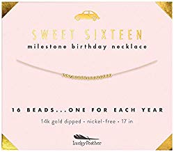 Lucky Feather Sweet 16 Milestone 14K Gold Dipped Beads Necklace on 17″ Cord – Perfect 16th Birthday Gift Ideas