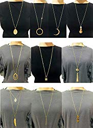 Ofeiyaa 10Pcs Long Pendant Necklace Simple Moon Bar Three Triangle Tassel Lock Sweater Y Shape Punk Chain Choker Necklace for Women Men Gold Silver Tone