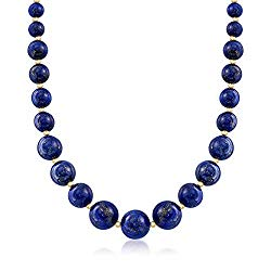 Ross-Simons 6-14mm Lapis Graduated Necklace in 14kt Yellow Gold