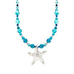 Ross-Simons Blue Agate Bead and Starfish Drop Necklace in Sterling Silver