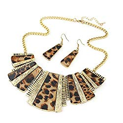 sameno 2018 fashion New girl women Mixed Style Bohemia Leopard Bib Chain Necklace+Earrings Jewelry (Brown)