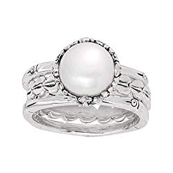 Silpada 'Balangan' 9-9.5 mm Freshwater Cultured Pearl Stacking Rings in Sterling Silver