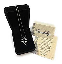 Smiling Wisdom – Vine Leaf Necklace Friendship Gift Set – Reason Season Lifetime Friend Heartfelt Message – Unique Appreciation Gifts For Encouraging Best Women BFF – Platinum Plated – Silver