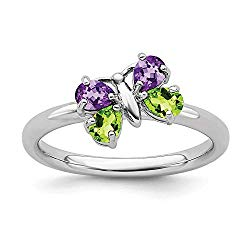 Stackable Expressions Sterling Silver Amethyst and Peridot Butterfly Ring