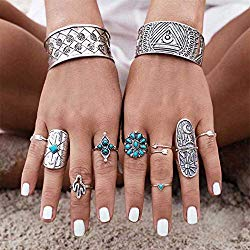 Yean Boho Turquoise Rings Set Flower Joint Knuckle Rings Plain Ring Band for Women and Girls