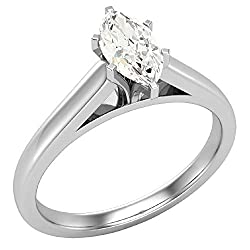 0.50 ct L I1 Diamond Engagement Ring for women Marquise Cut 6-prongs Solitaire Setting 14k Gold (GIA Certified)