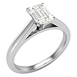 0.75 ct Diamond Engagement Ring for women Emerald Cut 4-prongs Solitaire Setting 14k Gold (GIA Certified)