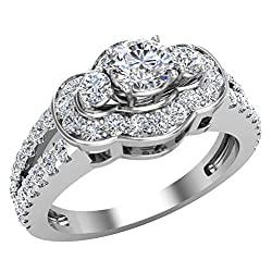 1.00 ct tw Three Stone Split Shank Wide look Anniversary Engagement Ring 14K Gold