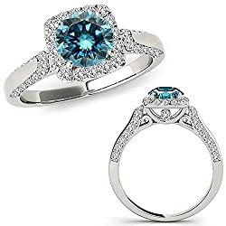 1.50 Carat Blue Diamond Cushion Halo Beautiful Promise Engagement Band Ring 14K White Gold