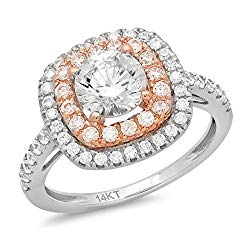 1.69ct Round Cut Solitaire double Halo Quality Lab Created White Sapphire Ideal VVS1 D & Simulated Diamond Engagement Promise Statement Anniversary Bridal Wedding Accent Ring Solid 14k two tone Gold