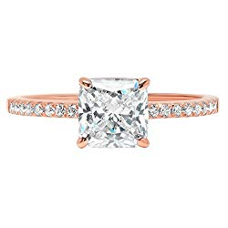 1.6ct Brilliant Asscher Cut Solitaire with Accent Highest Quality Moissanite Ideal VVS1 D & Simulated Diamond Engagement Promise Statement Anniversary Bridal Wedding Ring Real Solid 14k Rose Gold