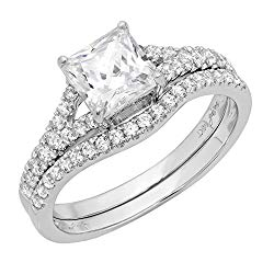 1.95ct Princess Cut Pave Solitaire with Accent VVS1 Ideal D Moissanite & Simulated Diamond Engagement Promise Designer Anniversary Wedding Bridal ring band set Curved 14k White Gold