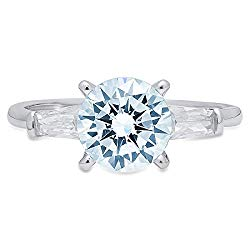 1.97ct Round Baguette Cut 3 stone Solitaire Aquamarine Blue Simulated Diamond CZ VVS1 Designer Modern Statement with accent Ring Solid 14k White Gold Clara Pucci