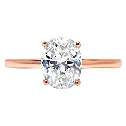 14k Rose Gold 1.8ct Oval Brilliant Cut Classic Solitaire Designer Wedding Bridal Statement Anniversary Engagement Promise Ring Solid,