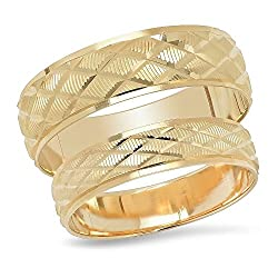 14K Solid Yellow Gold His & Her's Matching Diamond Shape Design Wedding Band Ring Set (Choose a Size)