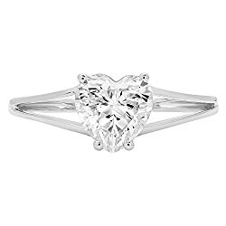 14k White Gold 1.47cttw Classic Heart Solitaire split shank Moissanite Engagement Promise Ring Statement Anniversary Bridal Wedding by Clara Pucci
