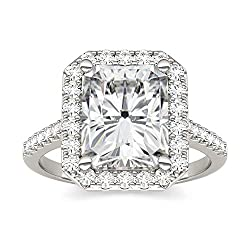 14K White Gold Moissanite by Charles & Colvard 10x8mm Radiant Engagement Ring, 4.41cttw DEW