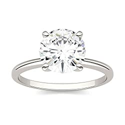 14K White Gold Moissanite by Charles & Colvard 8mm Round Engagement Ring, 1.90ct DEW