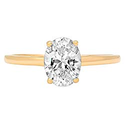 14k Yellow Gold 0.97cttw Oval Solitaire Moissanite Engagement Promise Ring Statement Anniversary Bridal Wedding by Clara Pucci