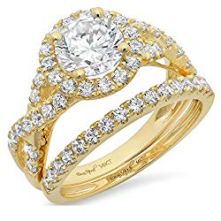 2.34ct Round Cut Halo Split Shank Solitaire with Accent VVS1 Ideal D Moissanite & Simulated Diamond Engagement Promise Designer Anniversary Wedding Bridal ring band set 14k Yellow Gold