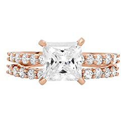 2.66ct Brilliant Princess Cut Halo Bridal Engagement Statement Wedding Ring band set 14k Rose Gold