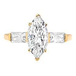 2 ct Marquise Baguette cut 3 stone Solitaire with Accent Best Quality Moissanite Ideal VVS1 D & Simulated Diamond Engagement Promise Statement Anniversary Bridal Wedding Ring Solid 14k Yellow Gold