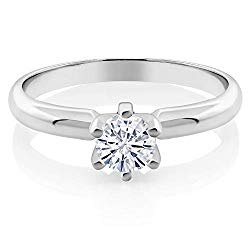 925 Sterling Silver 6-Prong Solitaire Ring Forever Brilliant (GHI) Round 0.50ct (DEW) Created Moissanite by Charles & Colvard