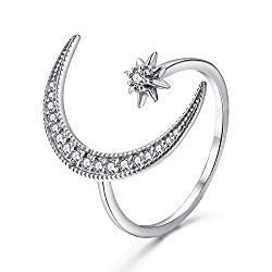 Angol Crescent Moon Star Adjustable Ring, 925 Sterling Silver Moon Ring Cubic Zirconia Opening Ring Jewelry Gift for Women Teens with Gift Box