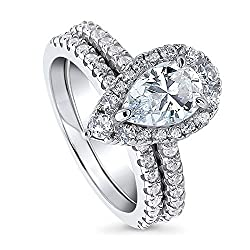 BERRICLE Rhodium Plated Sterling Silver Pear Cut Cubic Zirconia CZ Halo Engagement Wedding Ring Set 2.2 CTW