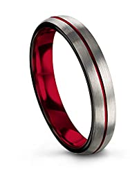 Chroma Color Collection Tungsten Carbide Wedding Band Ring 4mm for Men Women Green Red Fuchsia Copper Teal Blue Purple Center Line Dome Grey Brushed Polished