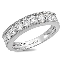 Clara Pucci 0.80 CT Round Cut CZ Unisex Pave Designer Solitaire Ring Band 14K White Gold
