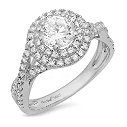 Clara Pucci 1.3 CT Round Cut Pave Halo Promise Bridal Engagement Ring Band 14k White Gold